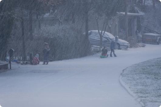 Børn i snen