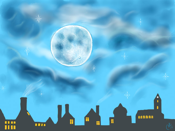 Månen over byen